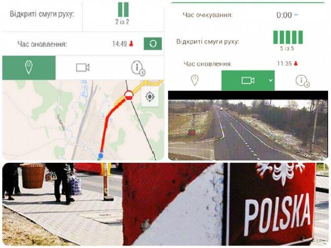 Додаток надає інформацію про поточну ситуацію на польських прикордонних переходах